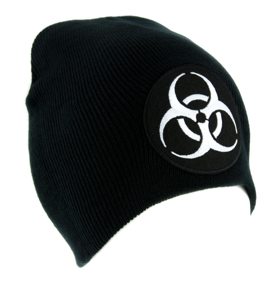 Death White Biohazard Sign Beanie Knit Cap Horror Clothing Zombie Apocalypse