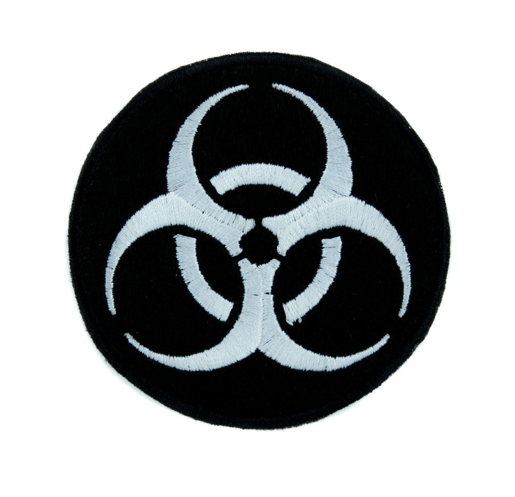 Death White Biohazard Sign Patch Iron on Applique Horror Clothing Zombie Apocalypse