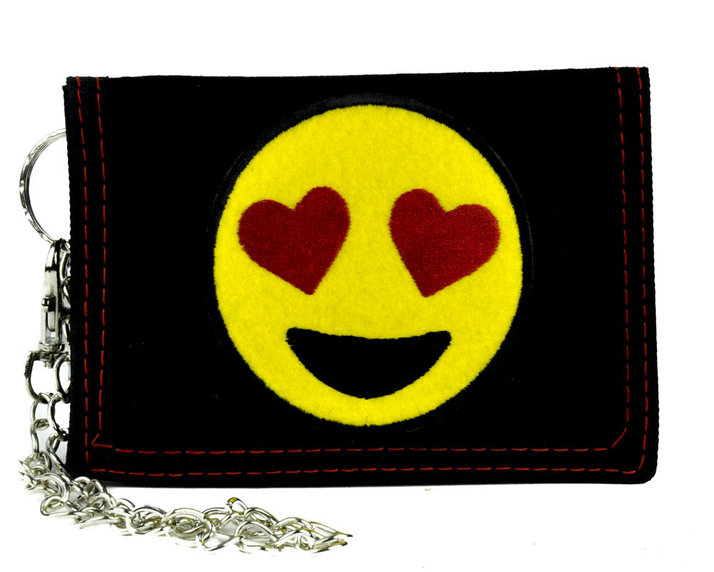 Love Heart Eyes Emoji Tri-fold Wallet with Chain Alternative Clothing I Love You