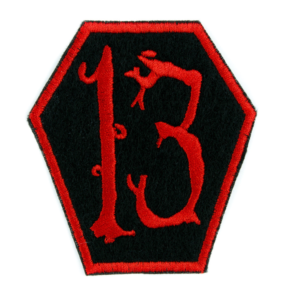 Red Coffin 13 Number Thirteen Patch Iron on Applique Alternative Clothing Luck Superstitious