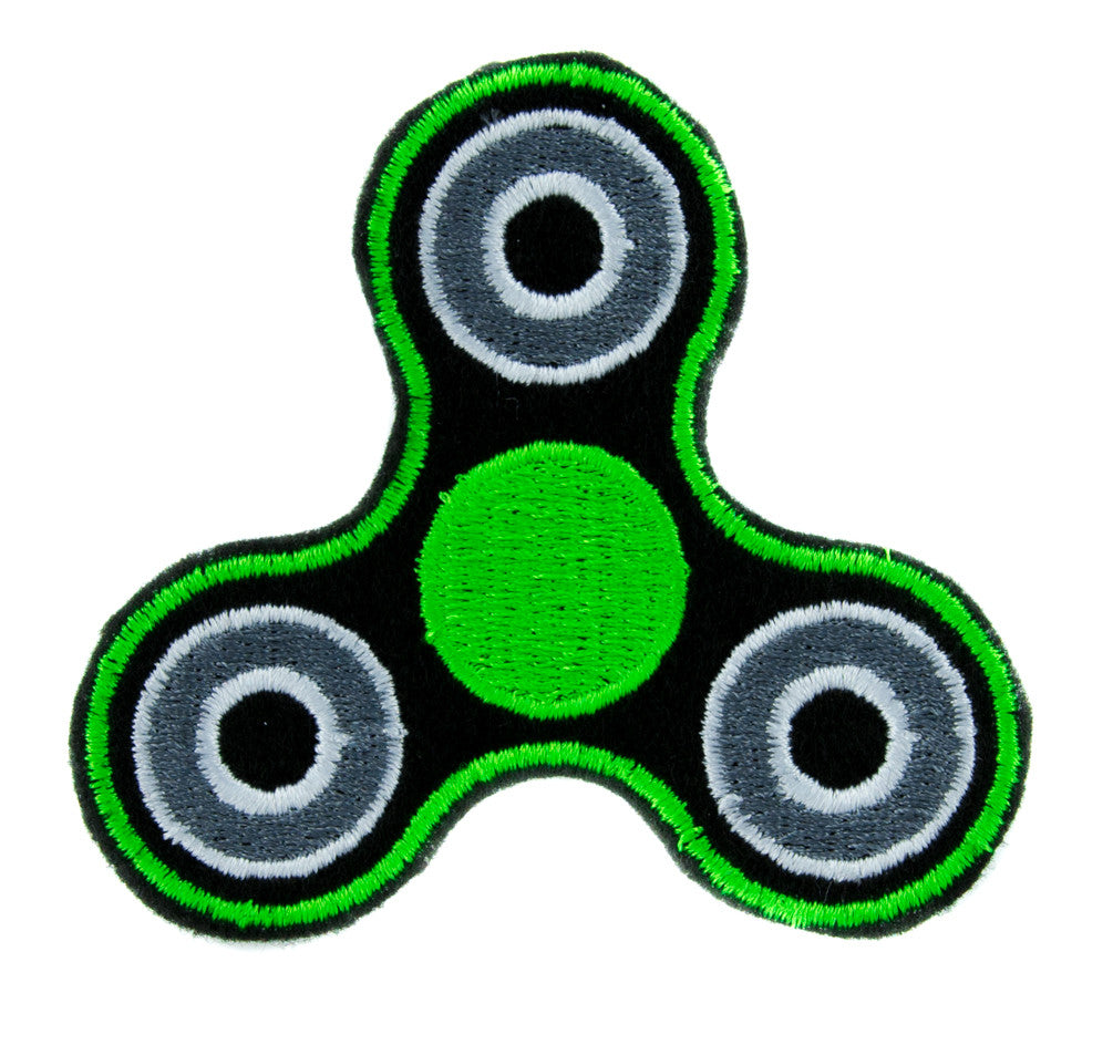 Green Fidget Spinner Patch Iron on Applique Alternative Clothing Stress Relieving Toy