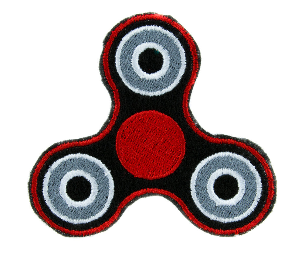 Red Fidget Spinner Patch Iron on Applique Alternative Clothing Stress Relieving Toy