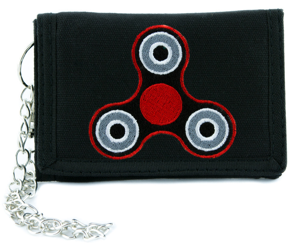Red Fidget Spinner Tri-fold Wallet Alternative Clothing Stress Relieving Toy Style