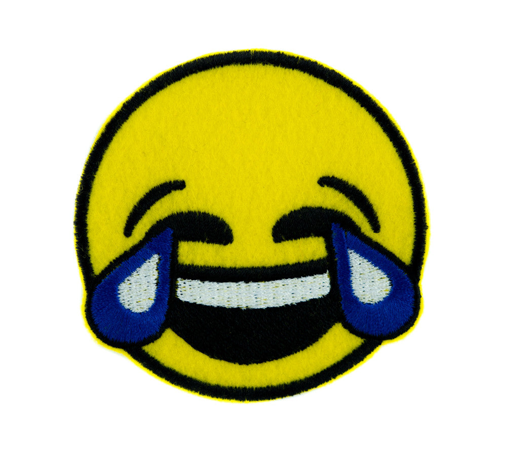 Cry Laughin Face Emoji Patch Iron on Applique Tears of Joy Alternative Clothing