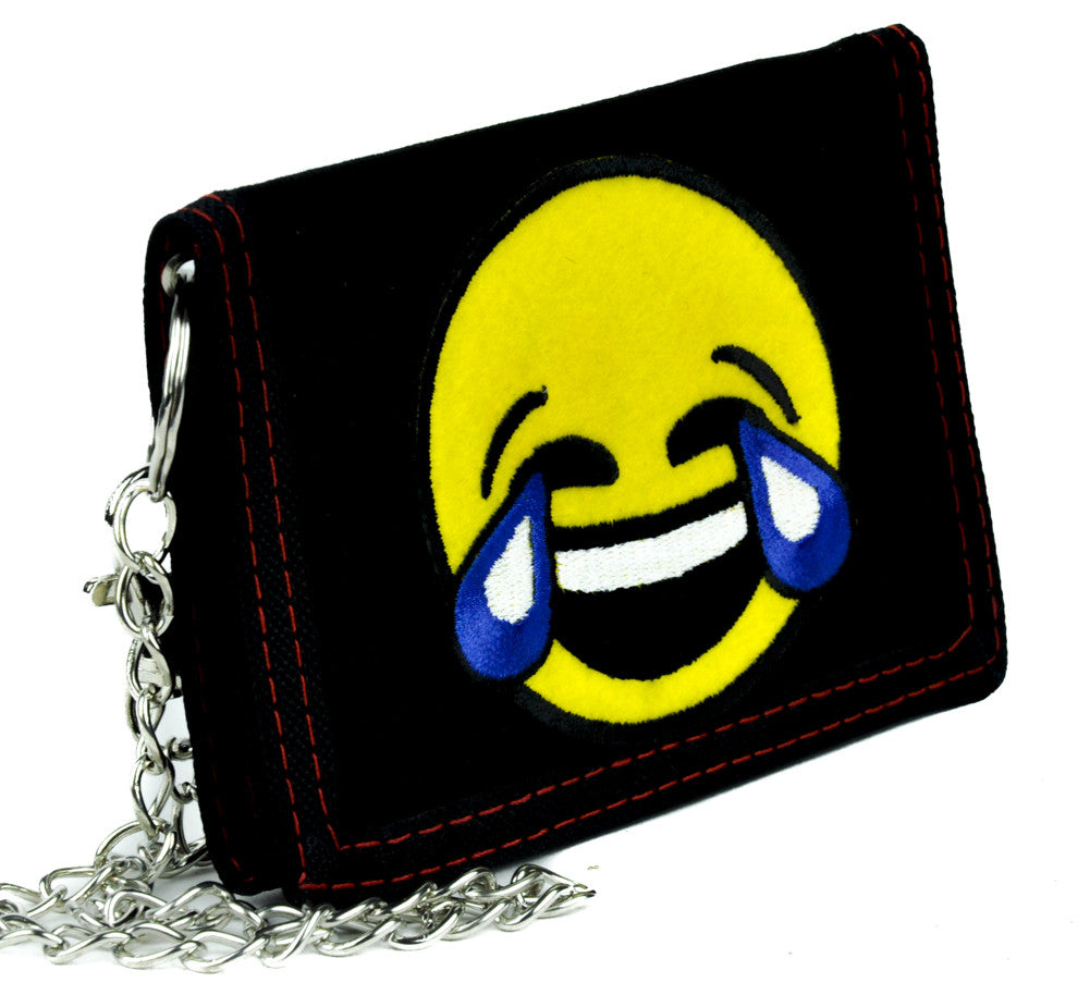 Cry Laughing Face Emoji Tri-fold Wallet with Chain Tears of Joy Alternative Clothing