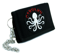 Cthulhu Octopus Elder God Tri-fold Wallet with Chain Alternative Clothing