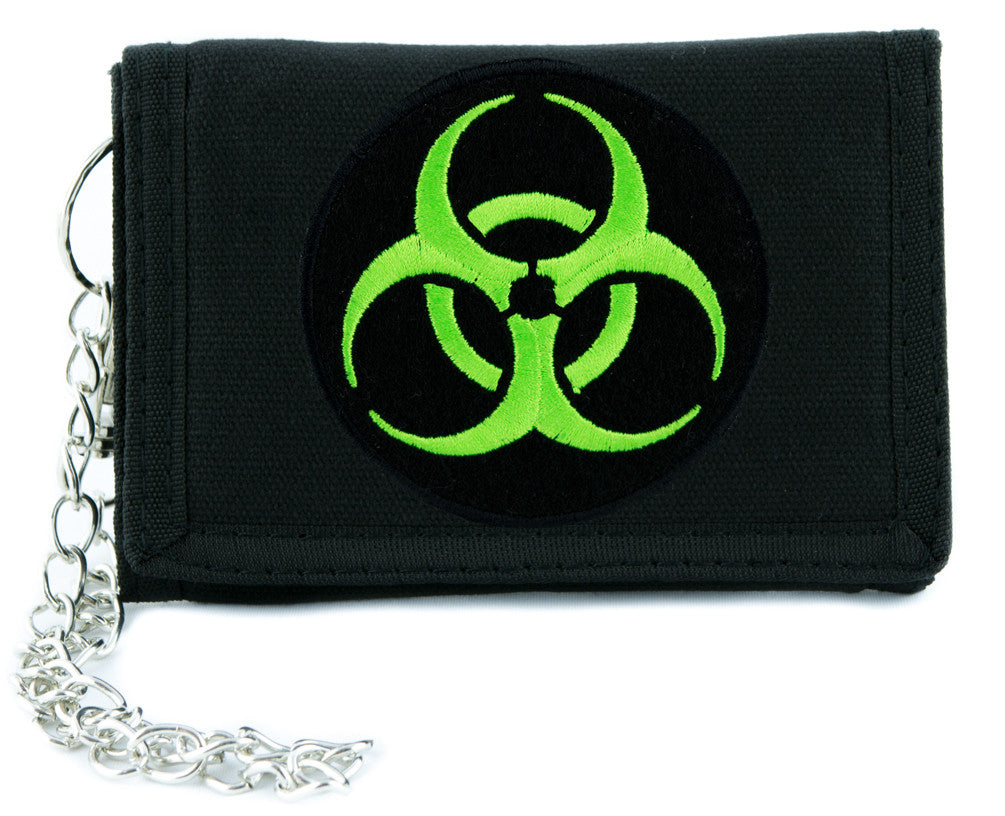 Toxic Green Biohazard Sign Tri-fold Wallet Horror Clothing Zombie Apocalypse