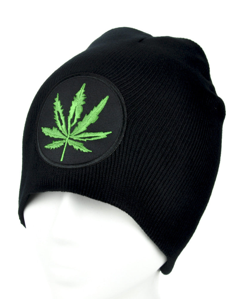 Cannabis Pot Leaf Beanie Alternative Clothing Knit Cap Legalize Marijuana