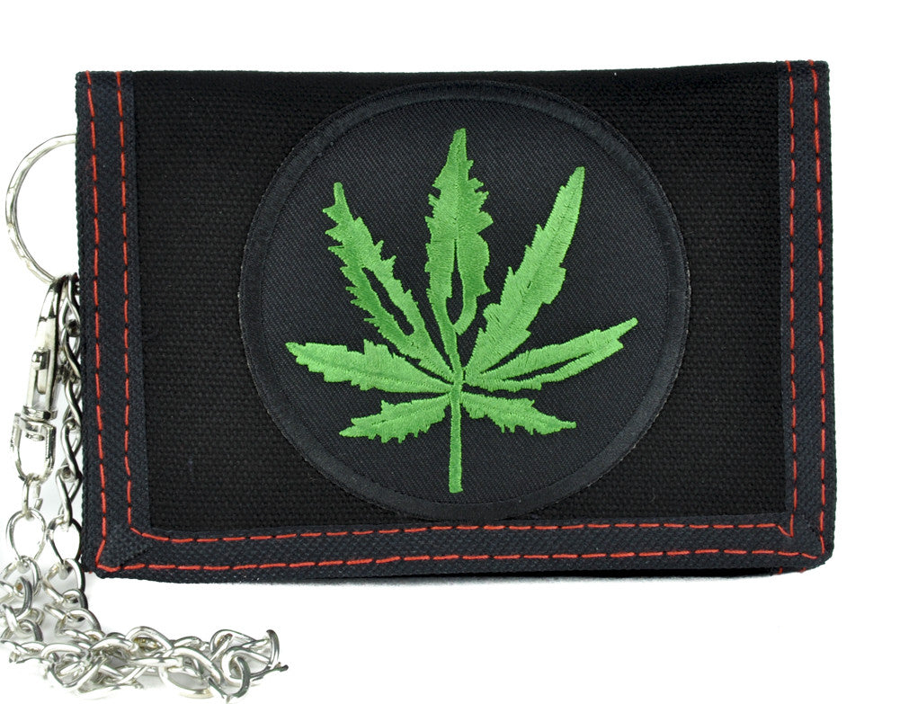 Cannabis Pot Leaf Tri-Fold Wallet with Chain Alternative Clothing