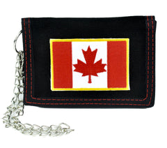 Canadian Flag Maple Leaf Tri-fold Wallet with Chain Alternative Clothing