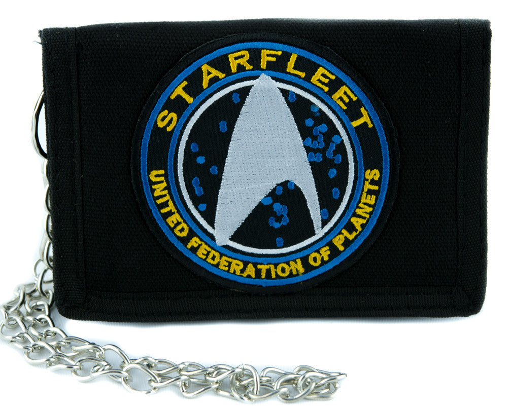 Starfleet Enterprise Star Trek Tri-fold Wallet with Chain Alternative Clothing Comic Con