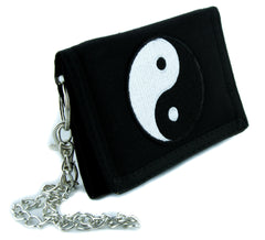 Yin Yang Chinese Symbol Tri-Fold Wallet with Chain Alternative Clothing Bruce Lee
