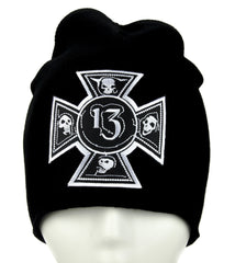 Number 13 Iron Cross Skull Beanie Alternative Clothing Knit Cap