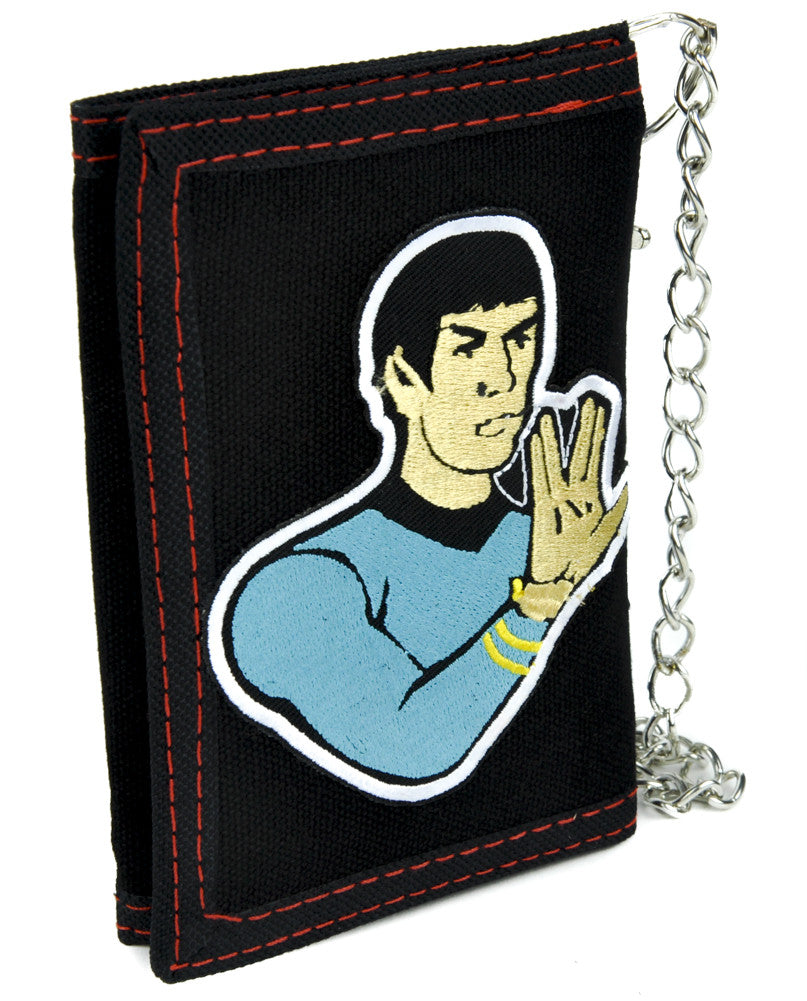 Spok Star Trek Tri-fold Wallet with Chain Scifi Clothing