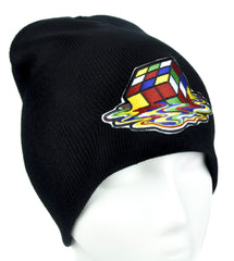 Melting Rubik's Cube Beanie Alternative Clothing Knit Cap 80's Vintage Style