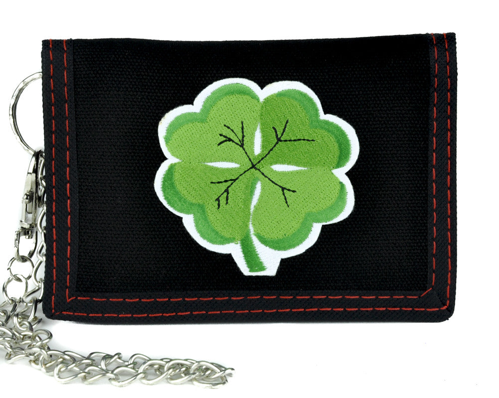 Lucky Four Leaf Clover Tri-Fold Wallet with Chain Alternative Clothing St. Patricks Day
