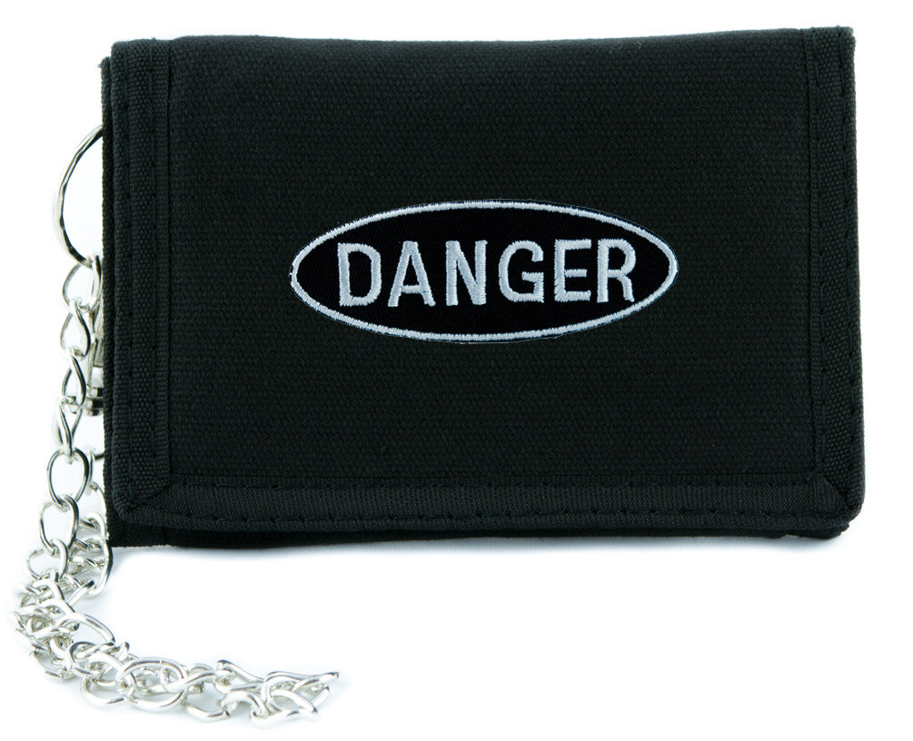 Black and White Danger Sign Tri-fold Wallet Alternative Grunge Clothing High Voltage