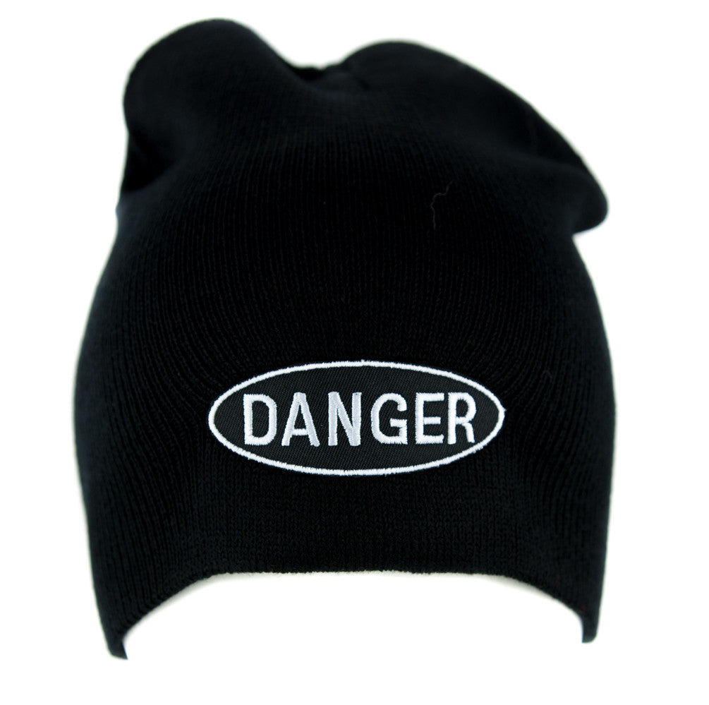 Black and White Danger Sign Beanie Alternative Clothing Knit Cap Grunge