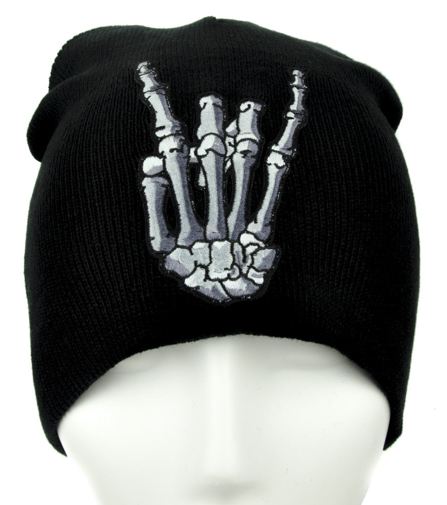 Skeleton Horns Up Heavy Metal Sign Beanie Alternative Clothing Knit Cap
