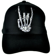 Skeleton Hand Horns Up Metal Sign Hat Baseball Cap Alternative Clothing
