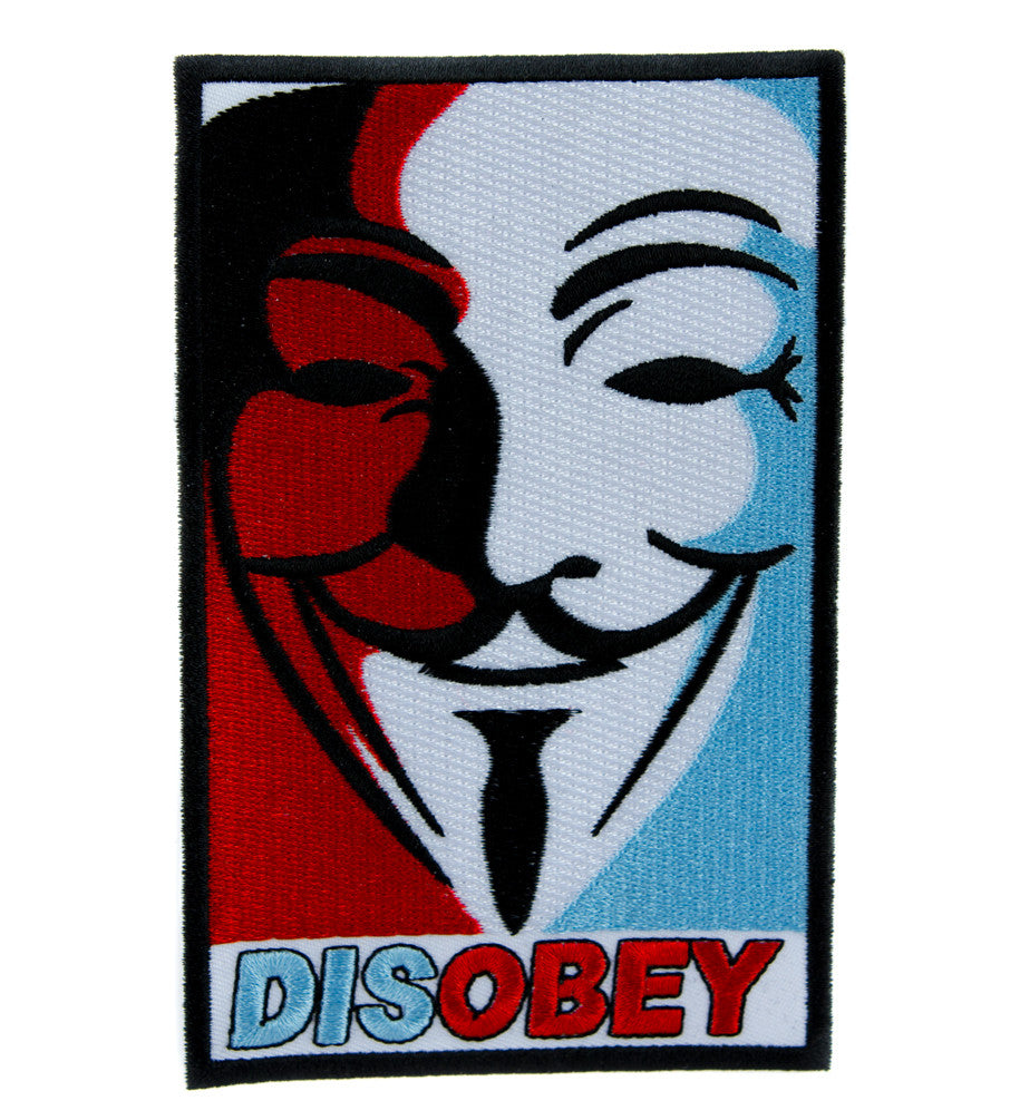 Disobey V for Vendetta Mask Patch Iron on Applique Alternative Clothing Anarchy