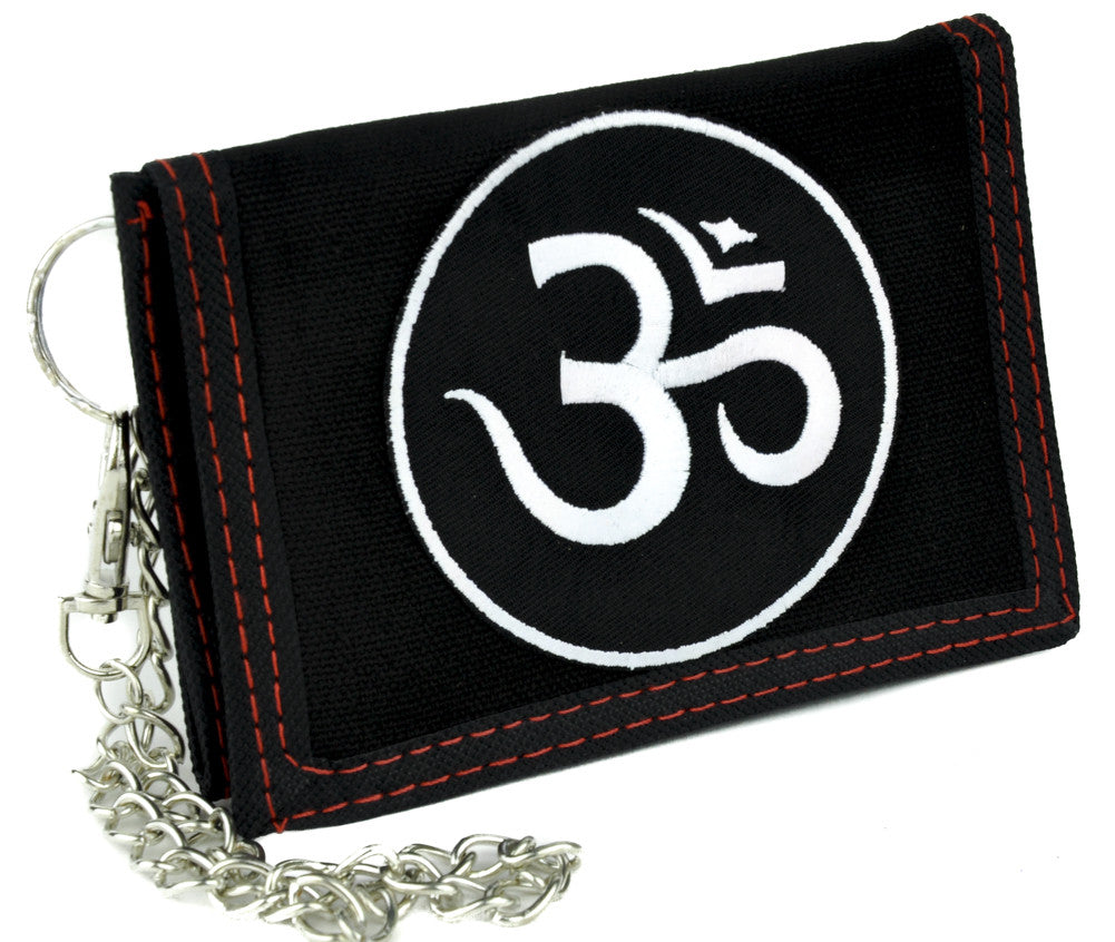 Om Symbol Tri-fold Wallet with Chain Alternative Clothing Buddhism Hinduism