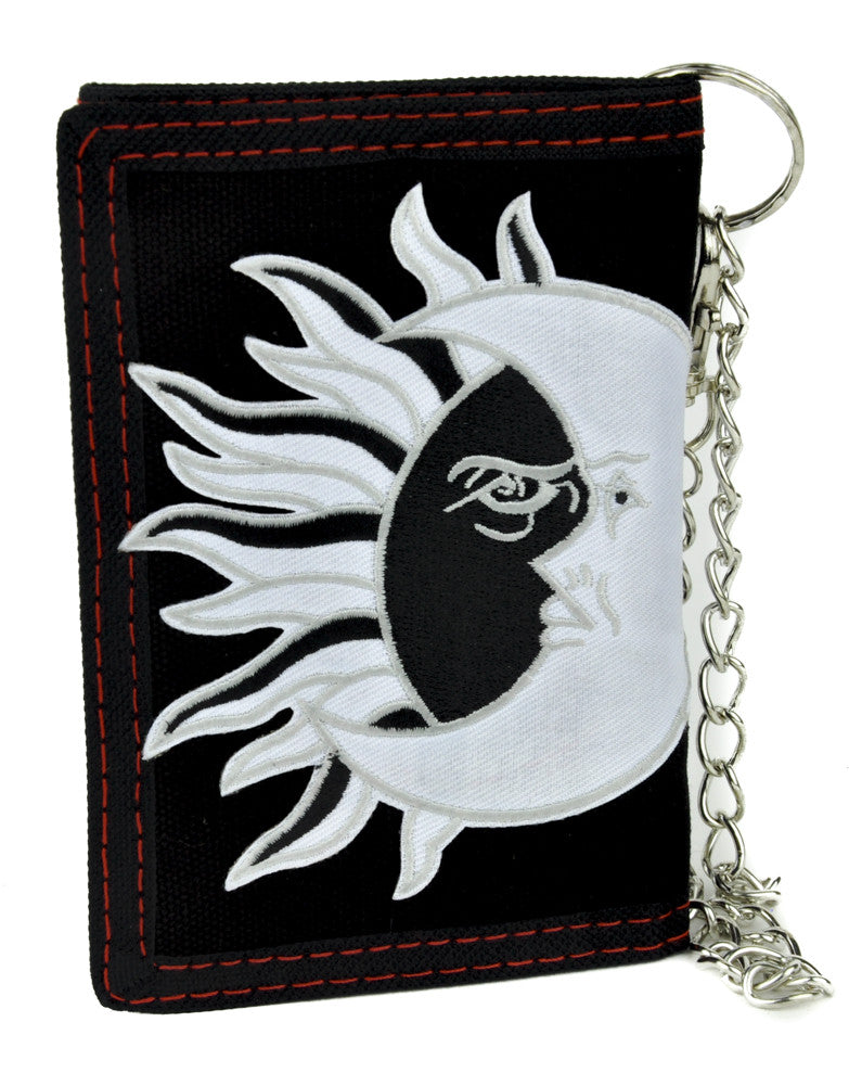 Sun and Moon Eclipse Tri-fold Wallet with Chain Alternative Clothing