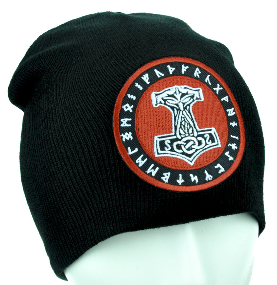 Mjolnir Thor Hammer Rune Beanie Alternative Clothing Knit Cap