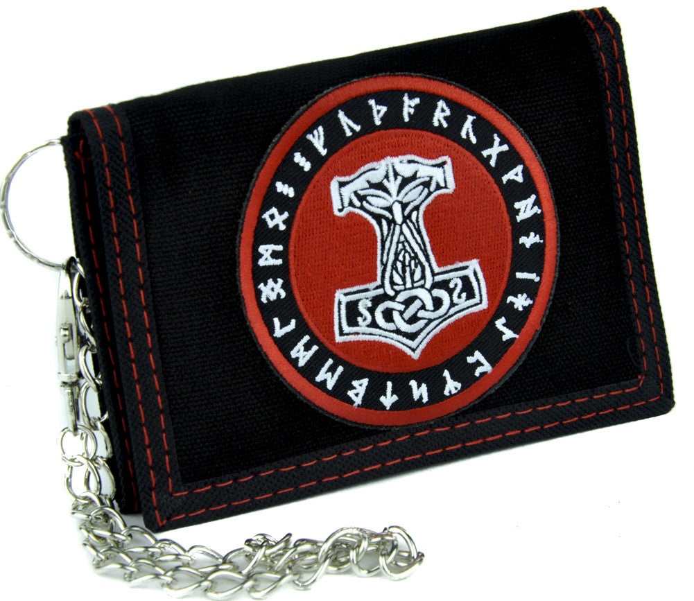 Mjolnir Thor Might Hammer Tri-fold Wallet with Chain Viking Odin Clothing