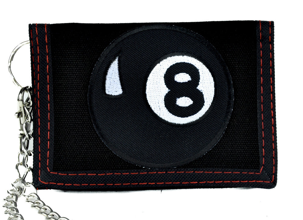 Magic Eight Ball Tri-fold Wallet with Chain Alternative Clothing Pool Hustler