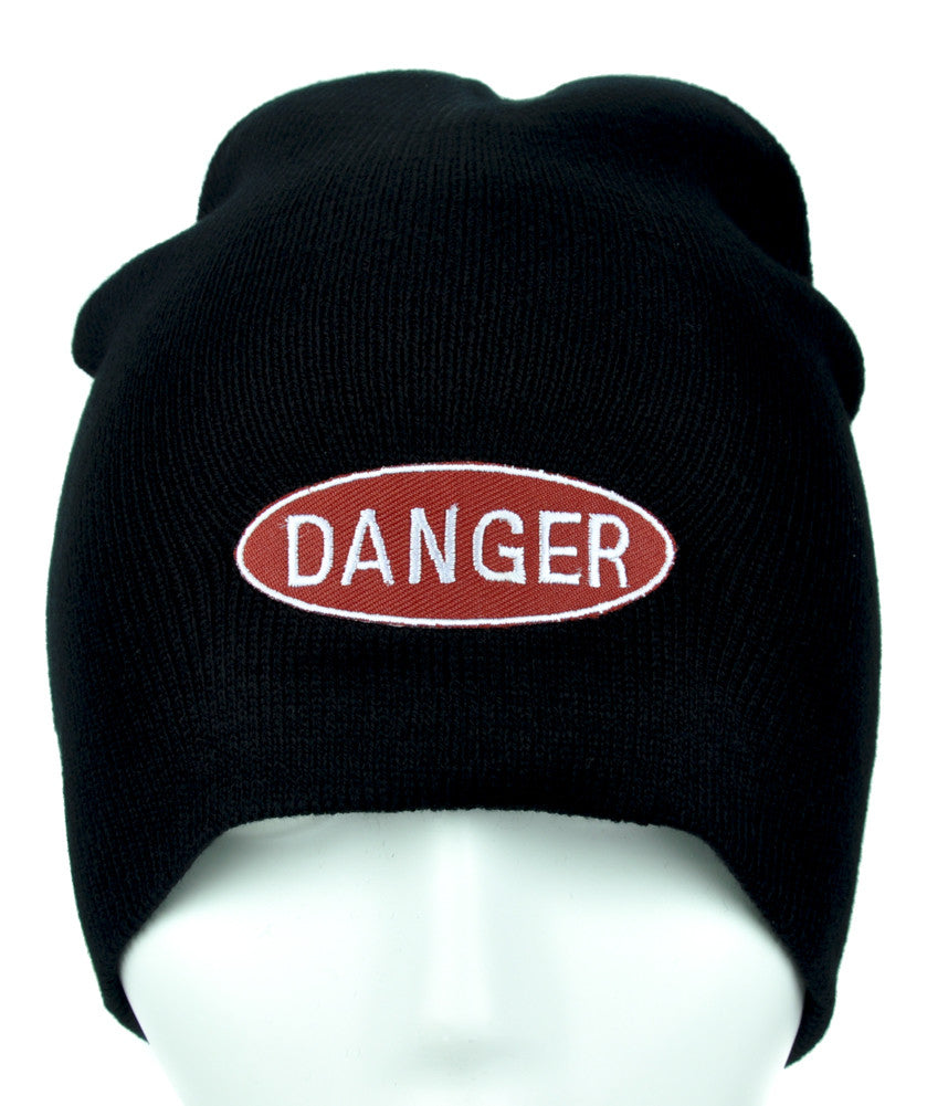 Red Danger Sign Beanie Alternative Clothing Knit Cap Grunge