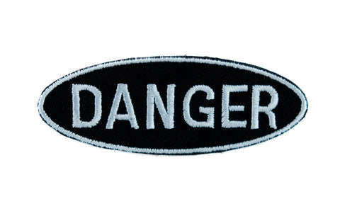 Black and White Danger Sign Patch Iron on Applique Grunge Clothing High Voltage