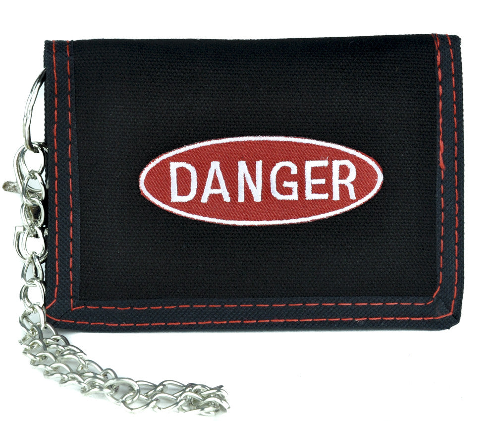 Red Danger Sign Tri-fold Wallet with Chain Alternative Clothing Grunge Style