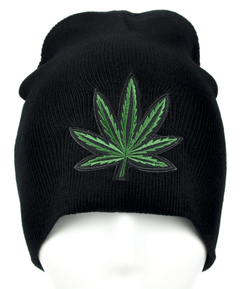 Marijuana Pot Leaf Beanie Alternative Clothing Knit Cap High Times