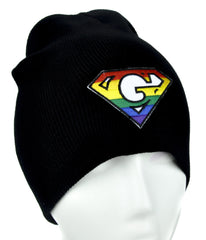 Rainbow G for Gay Pride Beanie Alternative Clothing Knit Cap GLBT Rights