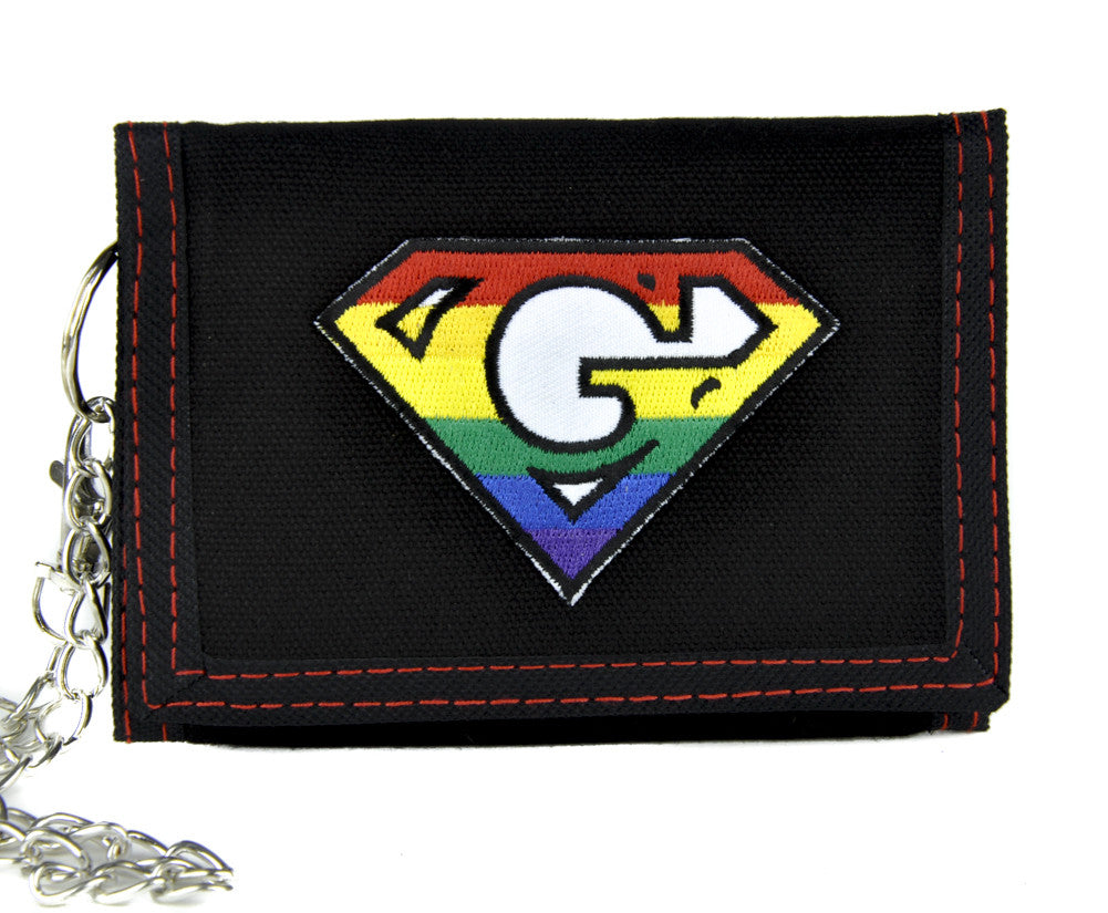 Super G Rainbow Gay Pride Tri-fold Wallet with Chain Alternative Clothing GLBT