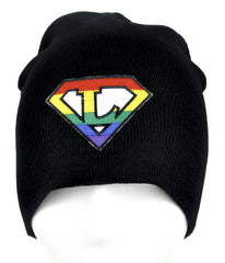 Rainbow Super L Pro Lesbian Pride Beanie Alternative Clothing Knit Cap