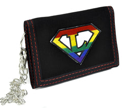 Rainbow Super L Lesbian Tri-fold Wallet with Chain Alternative Clothing