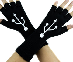 USB Sign Symbol Black Fingerless Gloves Arm Warmers Alternative Clothing Gamer Hacker