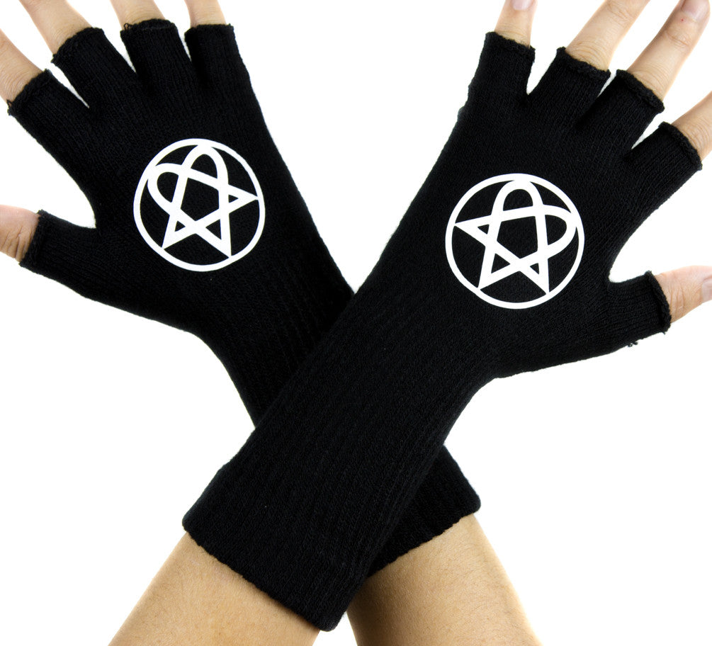 HIM Heartagram Black Fingerless Gloves Arm Warmers Alternative Clothing Gothic Metal