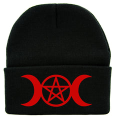 Red Crescent Moon Triple Goddess Symbol Cuff Beanie Knit Cap Wiccan Alternative Clothing
