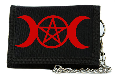 Red Crescent Moon Triple Goddess Pentagram Tri-fold Wallet Pagan Style Alternative Clothing