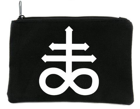 Leviathan Cross Symbol Cosmetic Makeup Bag Alternative Occult Accessories Black Sulfur
