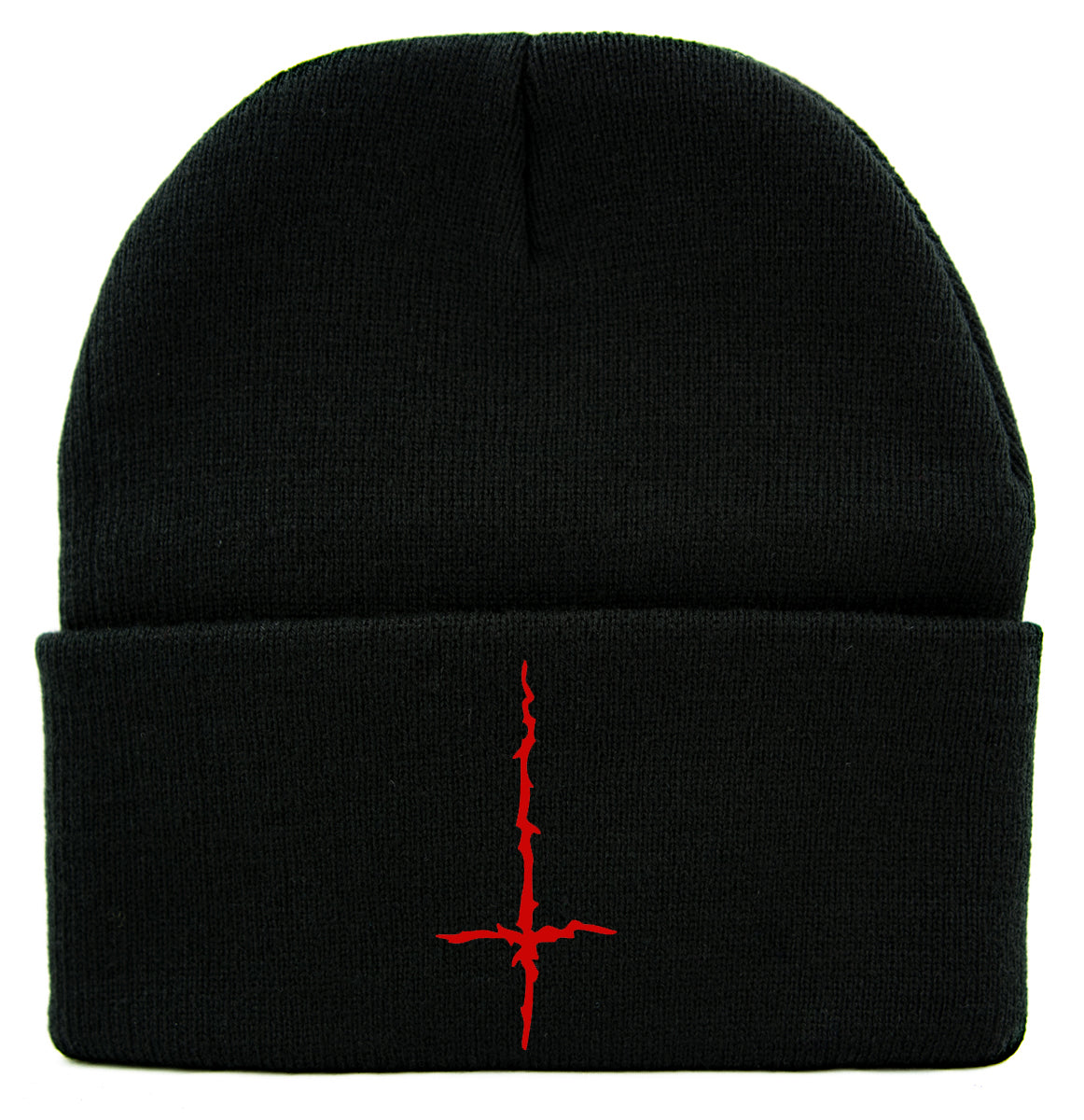 Red Black Metal Style Inverted Cross Cuff Beanie Knit Cap Unholy Evil Alternative Clothing