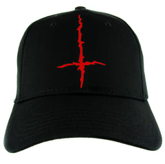 Red Black Metal Style Inverted Cross Hat Baseball Cap Unholy Evil Alternative Clothing Snapback