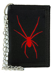 Red Halloween Black Widow Spider Tri-fold Wallet Gothic Style Scary Alternative Clothing