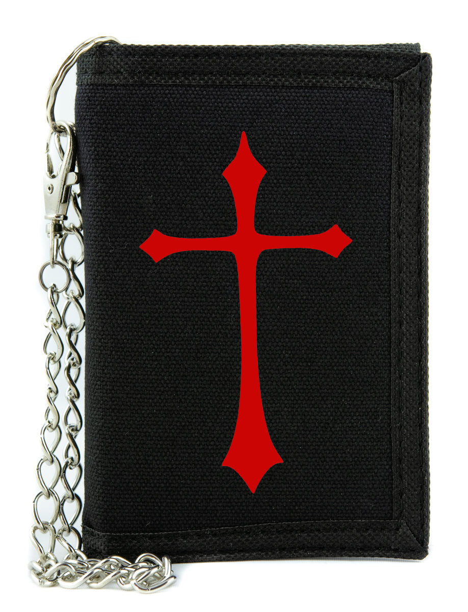 Red Medieval Holy Gothic Cross Tri-fold Wallet Deathrock Alternative Clothing