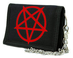Red Unholy Inverted Pentagram Symbol Tri-fold Wallet Evil Heavy Metal Alternative Clothing