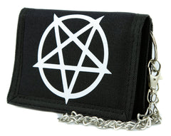White Unholy Inverted Pentagram Symbol Tri-fold Wallet Evil Heavy Metal Alternative Clothing