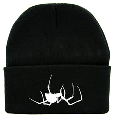 Spooky Crawling Black Widow Spider Cuff Beanie Knit Cap Gothic Alternative Clothing